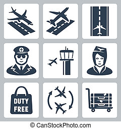 Vector airport icons set: landing, takeoff, runway, pilot, airfield control tower,  stewardess, shopping bag 'duty free', transfer, luggage cart