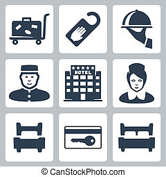 Vector hotel icons set: luggage cart, 'do not disturb' sign,...