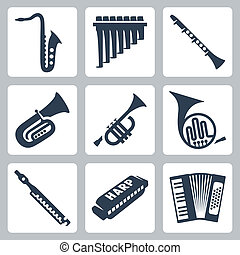 vector, musical, instruments:, tubos, armónica,...