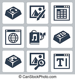 Vector isolated applications icons set: audio player, image...