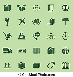 Shipping icons on green background