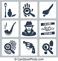 Vector detective icons set: man under street lamp, magnifier...