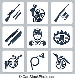 Vector hinting icons set: sniper rifle, hare, shotgun,...