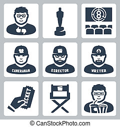 Vector cinema and filmmaking icons set: critic, award, movie...