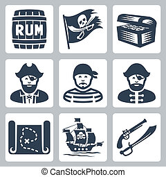 Vector pirates, piracy icons set