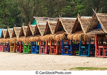 Colorful houses of beach accommodation