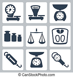 Vector isolated scales, balance icons set
