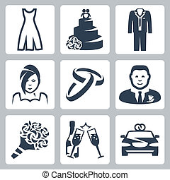 Vector isolated wedding icons set