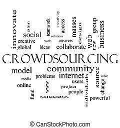 Crowdsourcing Word Cloud Concept in black and white with...
