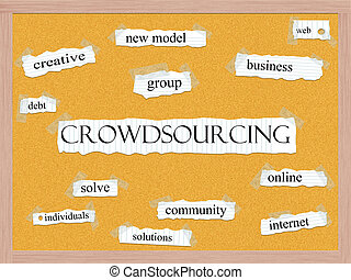 Crowdsourcing Corkboard Word Concept with great terms such...