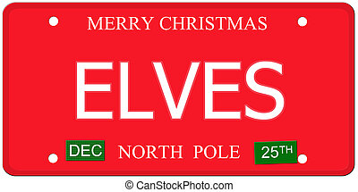 Elves North Pole License Plate - An imitation license plate...