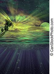Under water tropics illustration in strange green light