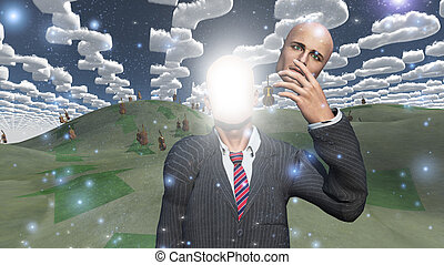 Man removes face showing lightn in landscape with question shaped clouds
