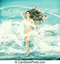 Sexy fairy woman - Aphrodite in sea waves - Sexy fairy slim...