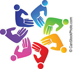 Hands teamwork logo