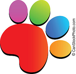 Colorful paw print logo