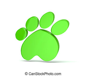 Paw print green icon logo - Paw print in gold color 3...