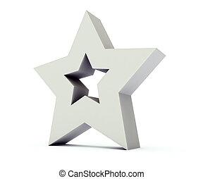 Star 3 dimensional background - Grey star 3 dimensional...