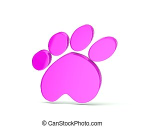 Paw print pink icon logo - Paw print in gold color 3...