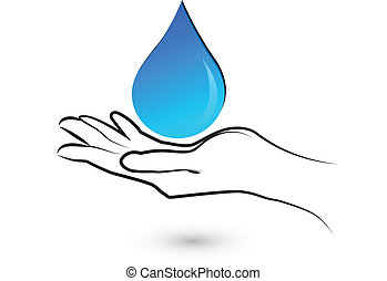 Hands care water  logo