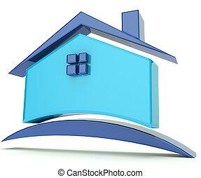 casa, azul, telhado, Ilustração, logotipo