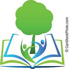Book tree students logo - Book tree and happy students...