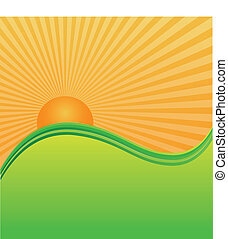 Sun and green hills mountains illustration background vector