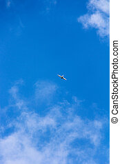 Bird flying high in the clear blue sky