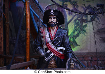 Pirate - Detail of pirate ship at Christmas fair in London,...