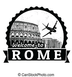 Welcome to Rome label or stamp