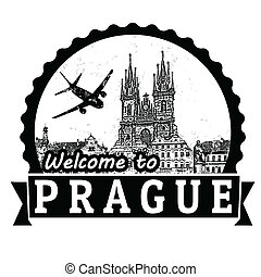 Welcome to Prague label or stamp - Welcome to Prague travel...