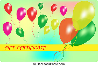 Wariant of gift certificate with balloons. EPS10 vector...