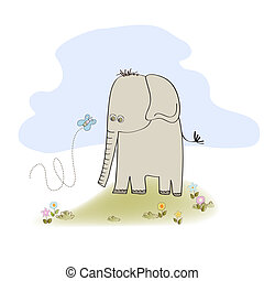 little cute elephant, illustration in vector format