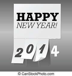 New Year 2014 Tear Off Paper Backgr - Happy New Year 2014...