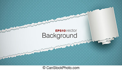 Torn paper background with a rolled piece EPS10 vector