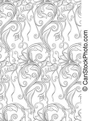 monochrome floral seamless pattern with the words