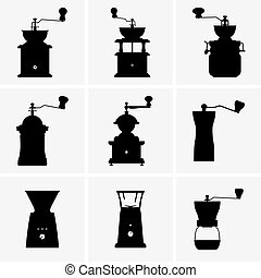 Coffee mills - Set of nine Coffee mills