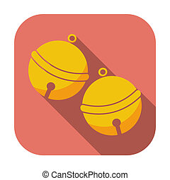 Christmas bell Single flat icon on the button Vector...