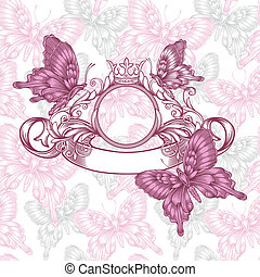 Vintage emblem with butterflies seamless pattern
