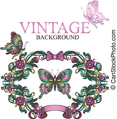 vintage decorative floral frame with butterflies