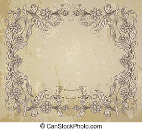 Vintage frame with decorative flowers