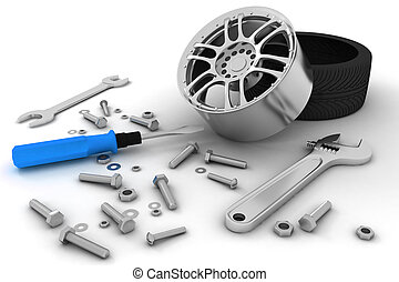 Wheel and Tools. Car service