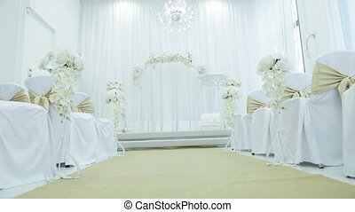 Wedding ceremony - Festively decorated hall for wedding...