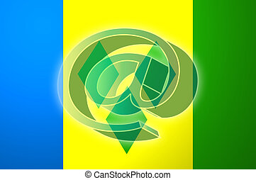 Flag of Saint Vincent and Grenadines internet illustration -...