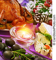 Christmastime banquet, festive table setting with bright...
