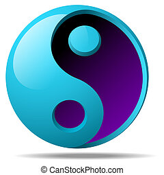 Ying Yang Sign - 3d Vector Ying Yang Sign