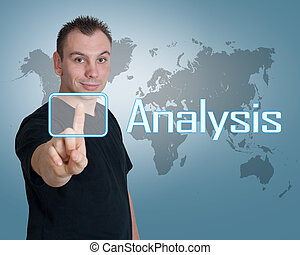 Analysis - Young man press digital Analysis button on...