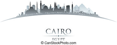Cairo Egypt city skyline silhouette white background - Cairo...