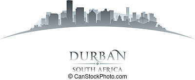 Durban South Africa city skyline silhouette white background...