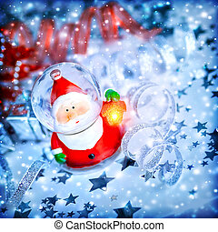 Magic Santa decoration - Blue Christmas background with cute...